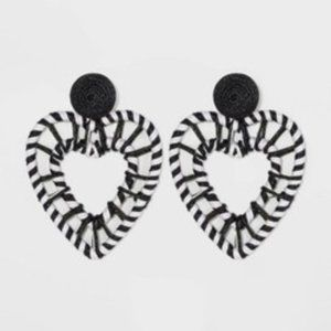 Black & White Heart Drop Earrings